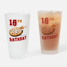 16th Birthday Pizza Party Drinking Glass