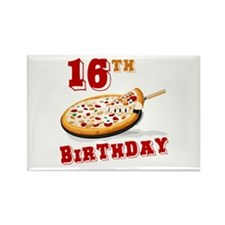 16th Birthday Pizza Party Rectangle Magnet