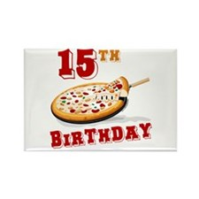 15th Birthday Pizza Party Rectangle Magnet