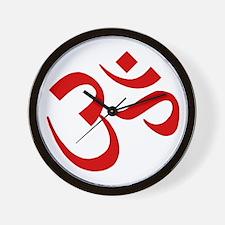 Om Symbol Red Wall Clock