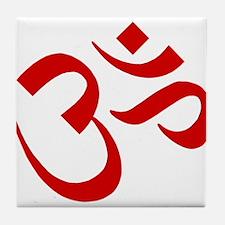 Om Symbol Red Tile Coaster