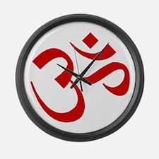 Om Symbol Red Large Wall Clock