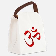 Om Symbol Red Canvas Lunch Bag