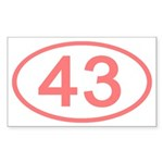 Number 43 Oval Rectangle Sticker