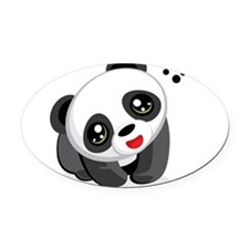 Excited Panda Oval Car Magnet