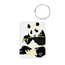 Panda Eating Bamboo 2 Keychains