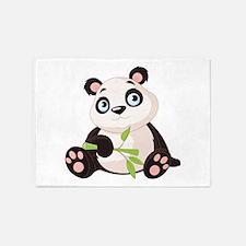 Baby Panda with Bamboo 5'x7'Area Rug