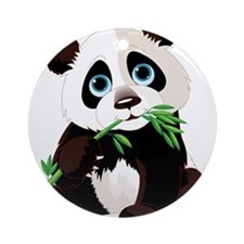Panda Eating Bamboo Ornament (Round)