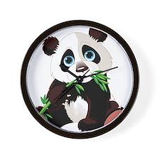 Panda Eating Bamboo Wall Clock