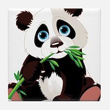 Panda Eating Bamboo Tile Coaster