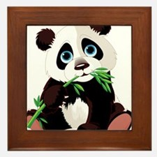 Panda Eating Bamboo Framed Tile