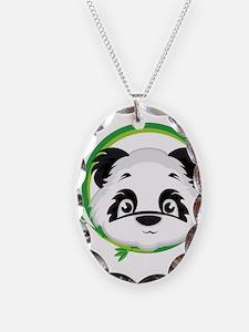 Panda in Bamboo Circle Necklace