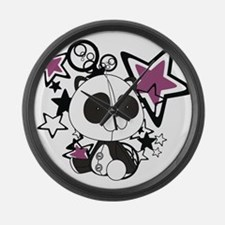 Panda with Stars Large Wall Clock