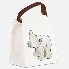 Gray Baby Polar Bear Canvas Lunch Bag