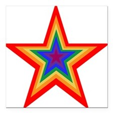 "Rainbow Star Square Car Magnet 3"" x 3"""