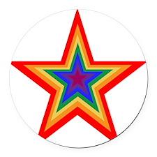 Rainbow Star Round Car Magnet