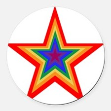 Rainbow Star Round Car Magnet