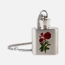 Vintage Red Rose Flask Necklace