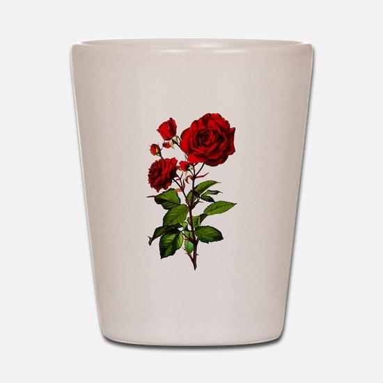 Vintage Red Rose Shot Glass