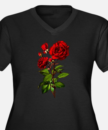 Vintage Red Rose Women's Plus Size V-Neck Dark T-S