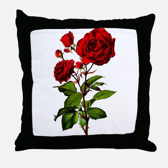 Vintage Red Rose Throw Pillow