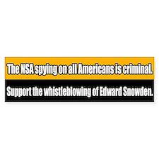 Support Edward Snowden Bumper Car Sticker
