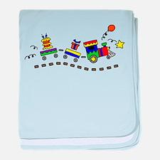 BIRTHDAY TRAIN baby blanket