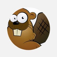 "Cartoon Beaver 3.5"" Button"