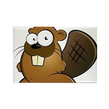 Cartoon Beaver Rectangle Magnet