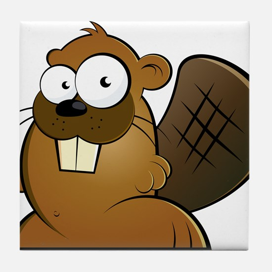 Cartoon Beaver Tile Coaster