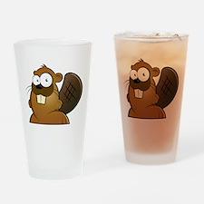 Cartoon Beaver Drinking Glass