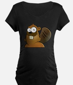 Cartoon Beaver Maternity T-Shirt