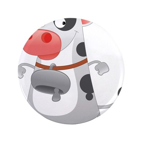 """Cow with Bell 3.5"""" Button (100 pack)"""