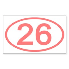 Number 26 Oval Rectangle Decal