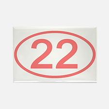 Number 22 Oval Rectangle Magnet