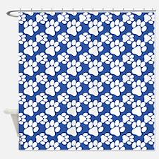 Dog Paws Carolina Blue Shower Curtain