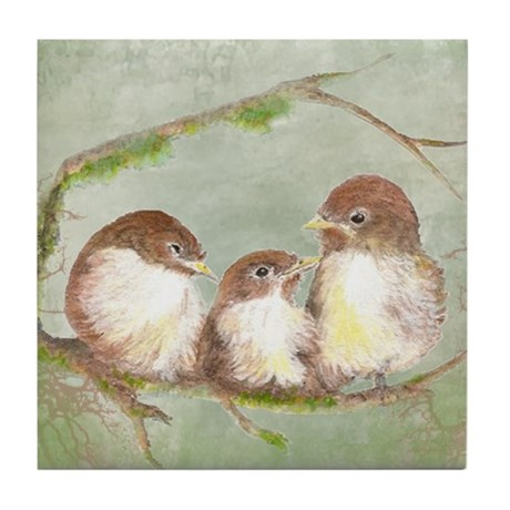 Cute Cuddling Family of Sparrows Watercolor Art Ti