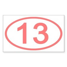 Number 13 Oval Rectangle Decal