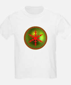 Red & Green Snowflake Kids T-Shirt