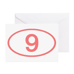 Number 9 Oval Greeting Cards (Pk of 10)