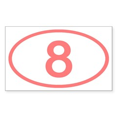 Number 8 Oval Rectangle Decal