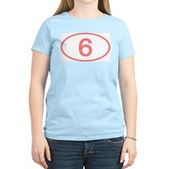 Number 6 Oval Women's Pink T-Shirt