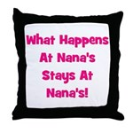 What Happens At Nana's Pink Throw Pillow