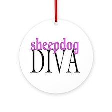 Sheepdog Diva Ornament (Round)