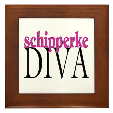 Schipperke Diva Framed Tile