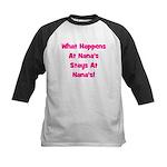 What Happens At Nana's Pink Kids Baseball Jersey