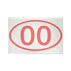 Number 00 Oval Rectangle Magnet (10 pack)
