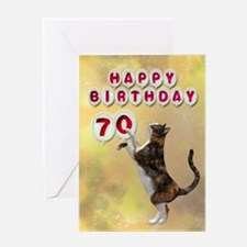 70th birthday with a cat Greeting Card