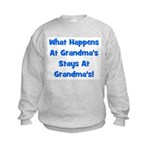 What Happens At Grandmas Blue Kids Sweatshirt