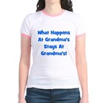 What Happens At Grandmas Blue Jr. Ringer T-Shirt